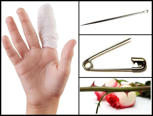 Иголка, булавка, роза, порезанный палец