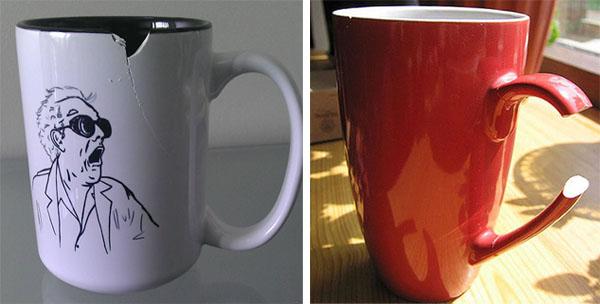 Откололся кусочек чашки