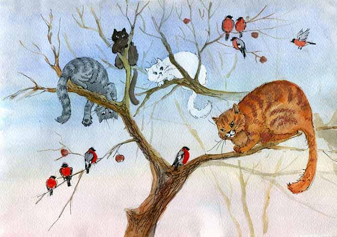Снегири и кошки на дереве